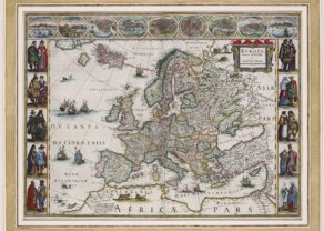 Old carte-à-figures map of Europe by Willem and Joan Blaeu