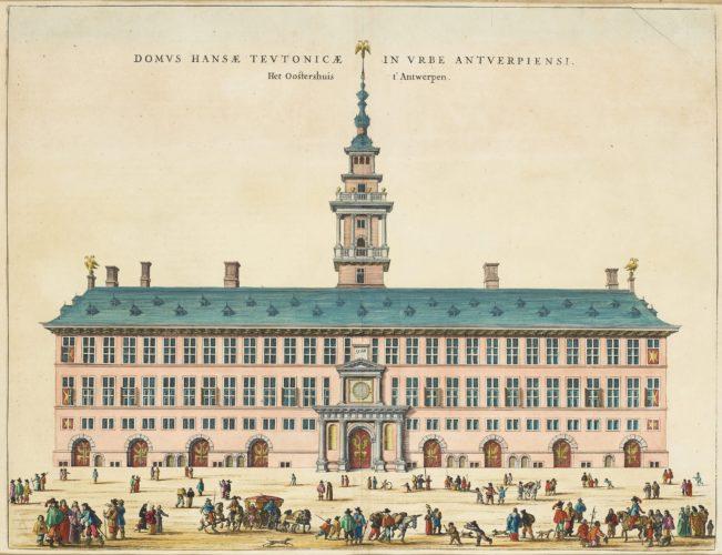 Old view of the Hanseatic House in Antwerpen by Joan Blaeu (Town Atlas)