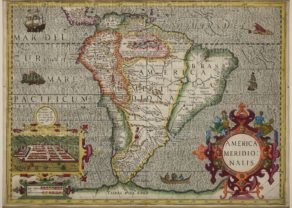 Old map of South America with Cusco by Jodocus Hondius