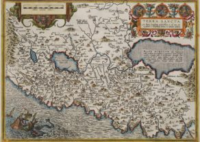 Old map of the Holy Land (Terra Sanctta) by Ortelius (Civitates Orbis Terrarum)