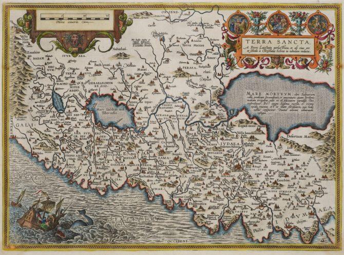 Old map of the Holy Land (Terra Sanctta) by Ortelius (Civitates Orbis Terrarum)