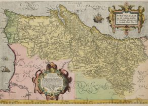 Old map of Portugal by Abraham Ortelius, published in his Theatrum Orbis Terrarum, 1575