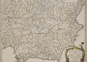 Old map of central and southern Spain by de Vaugondy (Atlas universel)