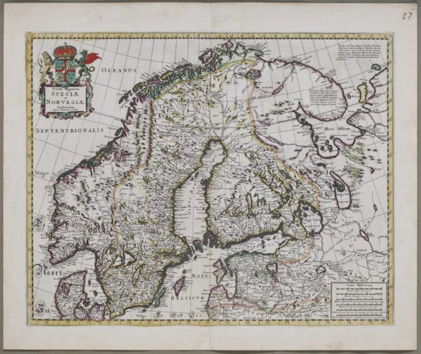 Old map of Scandinavia and the Baltic STates by Frederik de Wit