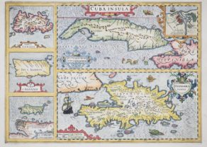 Old map of Cuba, Jamaica and Hispaniola by Hondius
