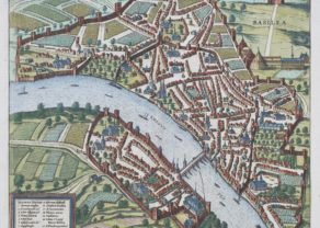 Old map of Basel (Bâle) by Braun and Hogenberg