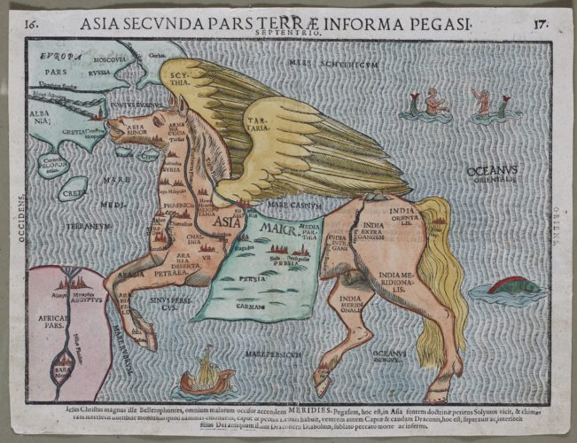 Old map of Asia in the form of Pegasus horse by Bünting