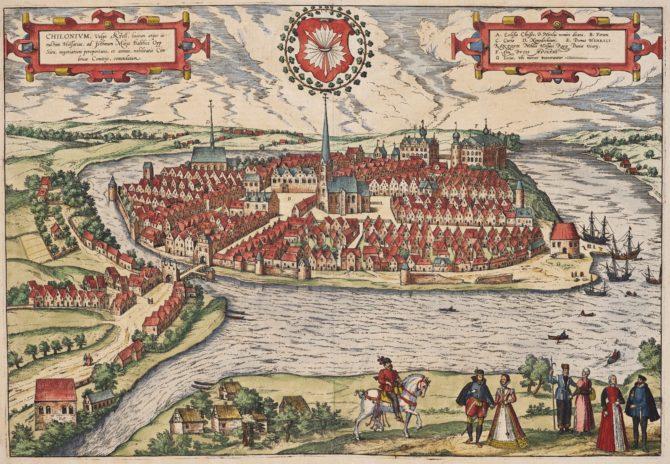 Old map of Kiel by Braun and Hogenberg (Civitates Orbis Terrarum)