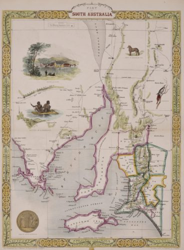 Old map of South Australia with Adelaide by John Tallis