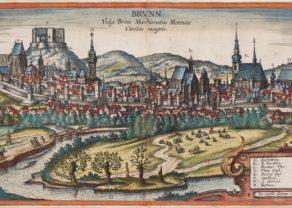Old map of Brno (Czechia) by Braun and Hogenberg (Civitates Orbis Terrarum)tal of
