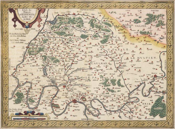 Old map of Île-de-France (Paris region) by Abraham Ortelius (Theatrum Orbis Terrarum)