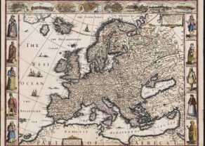 Old carte-à-figures map of Europe by John Speed