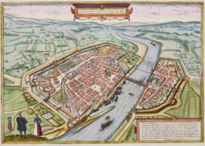 Old map of Frankfurt by Braun and Hogenberg (Civitates Orbis Terrarum)