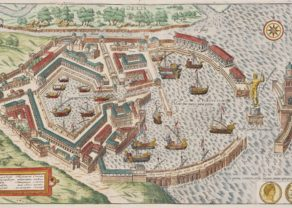 Old map of ancient Portus (Ostia), Rome's harbor by Braun and Hogenberg (Civitates Orbis Terrarum)