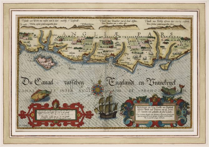 Old map of the South coast of England by Lucas Janszoon Waghenaer, 1584
