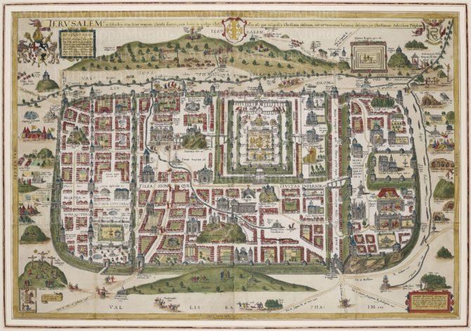 Old map of Jerusalem by van Adrichem