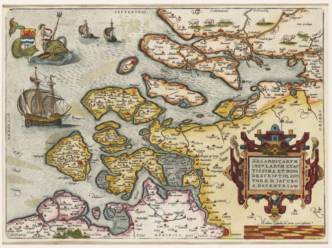 Old map Zeeland by Ortelius 1590