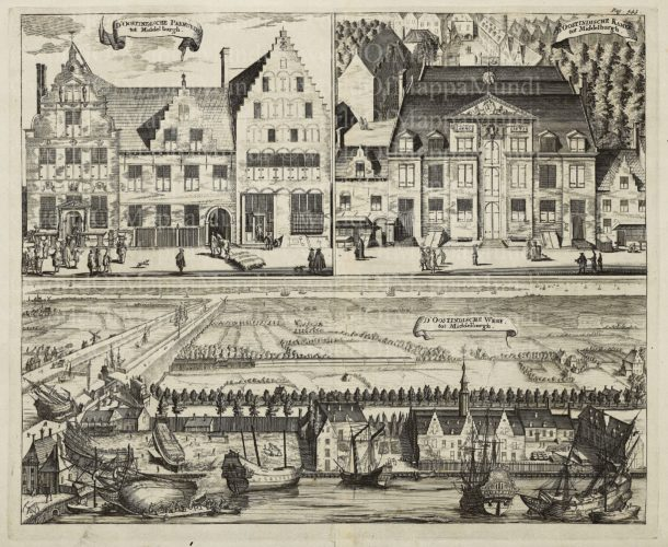 Middelburg, three views of buildings of the VOC by Smallegange, 1696