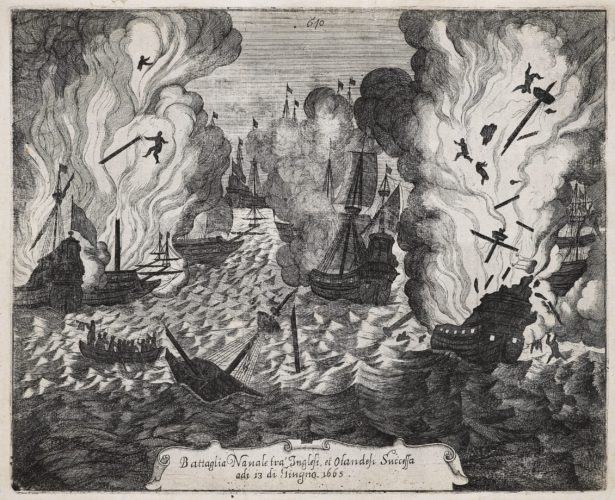 View of battle at Lowesoft of June 3, 1665 by Priorato