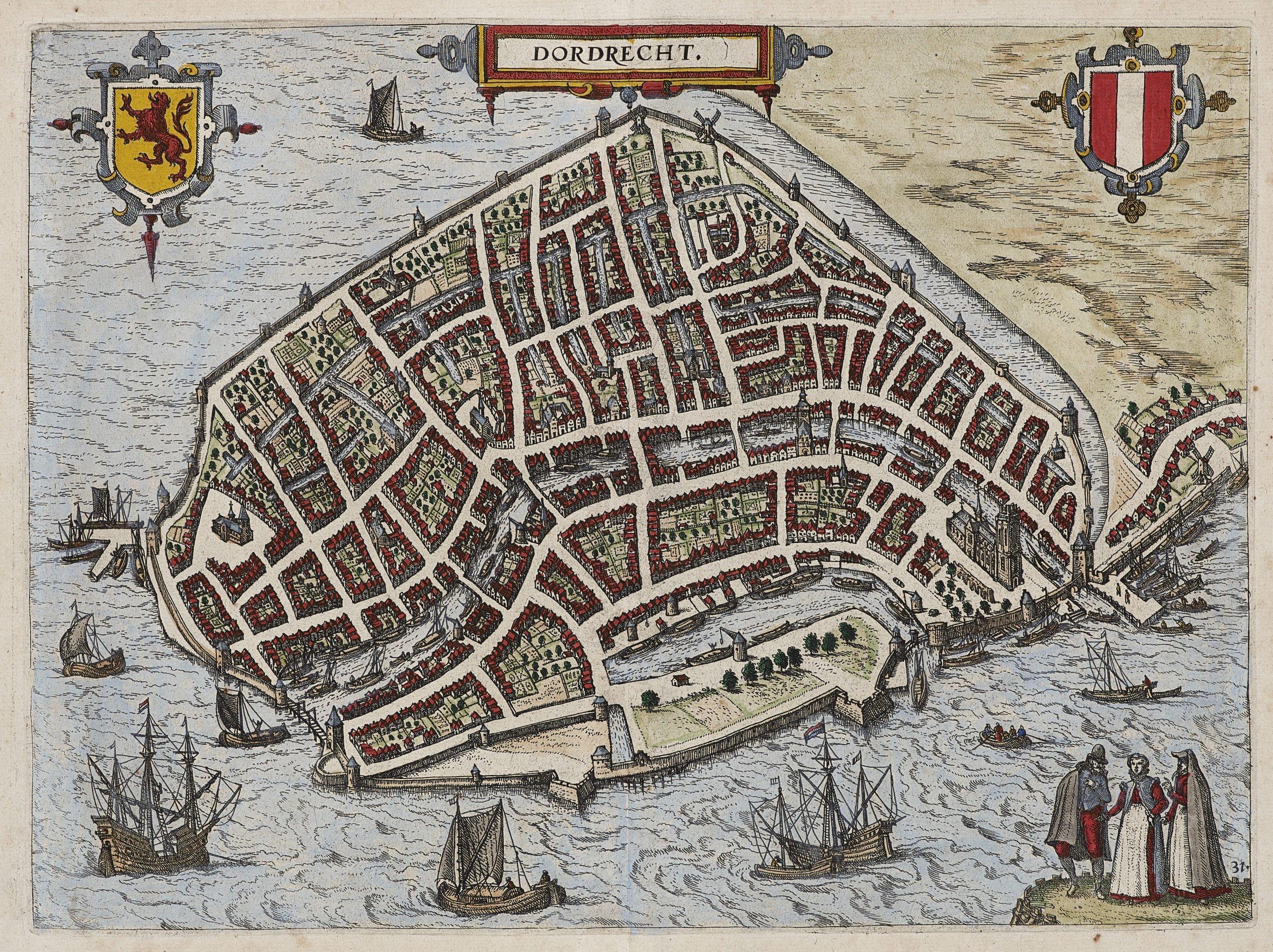 Old map Dordrecht by Guicciardini, 1582