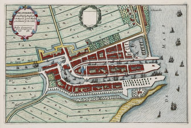 Old map Delfshaven by Joan Blaeu 1649