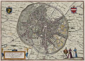 Old map of Leuven by Braun Hogenberg 1588