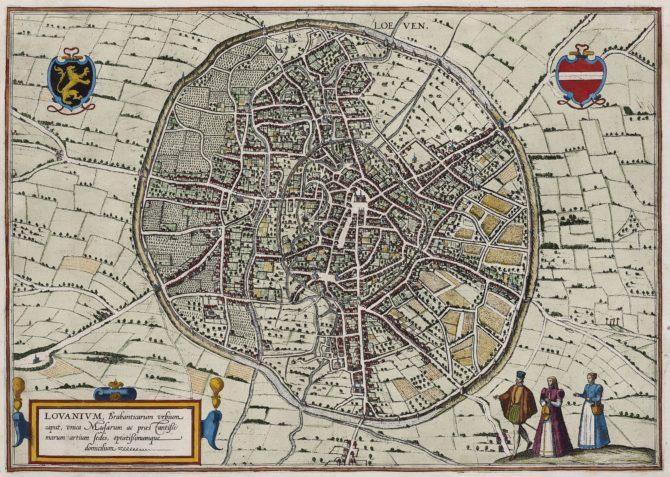 Old map of Leuven by Braun Hogenberg 1588