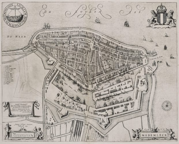 Old map of Medemblik by Joan Blaeu, 1652