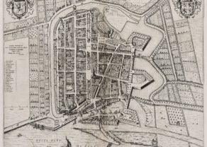 Old map of Schoonhoven by Blaeu, 1650