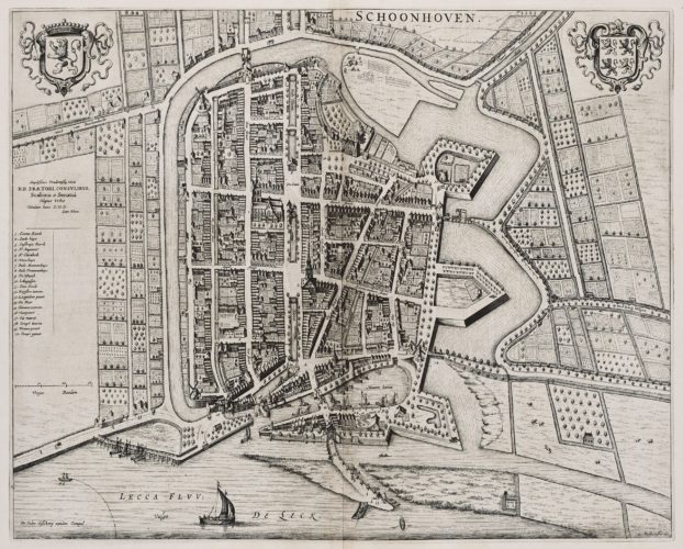 Old map of Schoonhoven by Blaeu, 1650