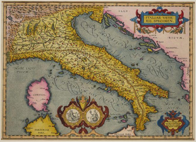Old map of Ancient Italy by Ortelius (Theatrum Oribs Terrarum; Parergon)
