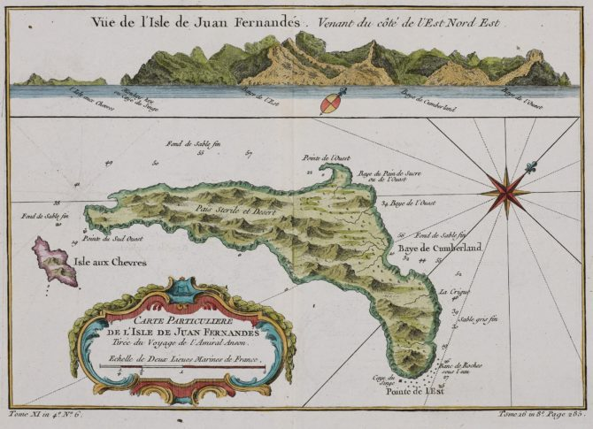 Old map of Islas de Fernandes (Robinson Crusoe islands) by Bellin