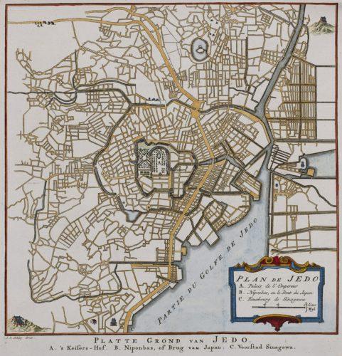 Old map of Edo (Tokyo) by van der Schley, 1757