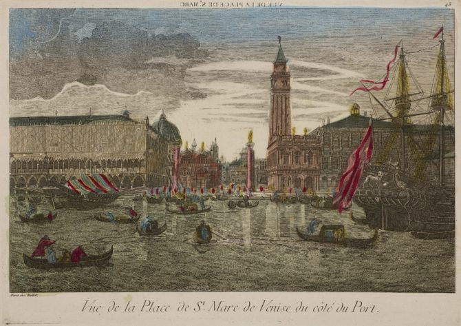 Optica print of San Marco Place in Venice, viewed from the harbour, by Maillet