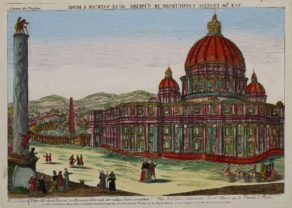Optica print of Saint Peter's at the Vatican by the Académie Impériale at Augsburg
