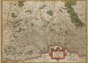 Old map of Bavaria, originally by Mercator, issued by Hondius 1623