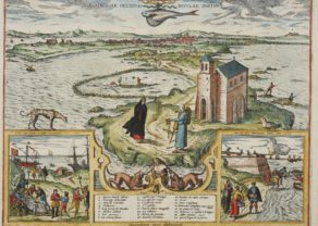 Old map Cadiz by Braun and Hogenberg, 1598