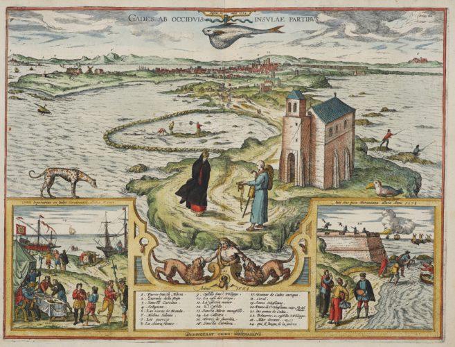 Old map Cadiz by Braun and Hogenberg, 1598