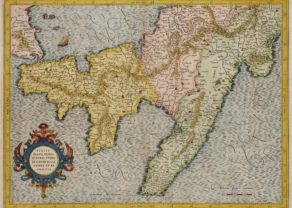 Old map of South Italy by Mercator, published by Hondius in 1619