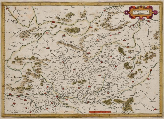 Old map of Burgundy (Bourgogne, made by Mercator and published by Hondius