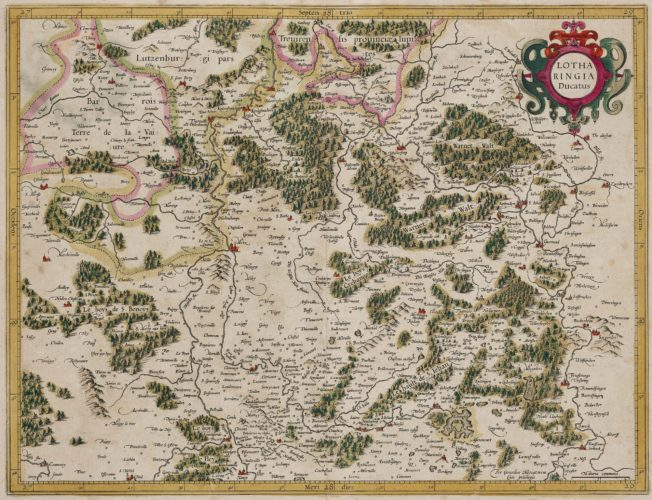 Old map of Lorraine made by Mercator, published by Hondius