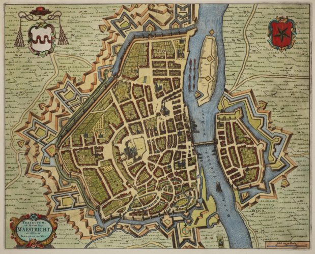 Maastricht, large city map by Frederik de Wit, 1695