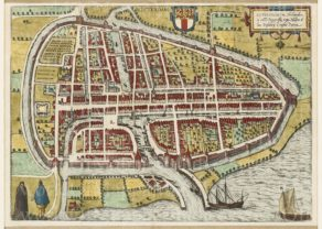old map of Rotterdam by Braun and Hogenberg, 1588