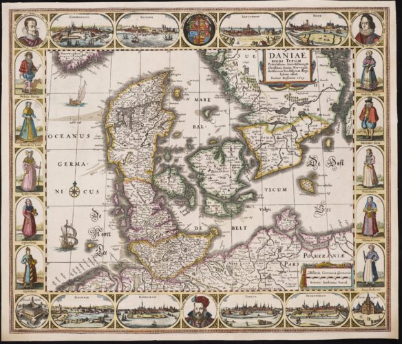 Old carte-à-figures map of Denmark by Janssonius