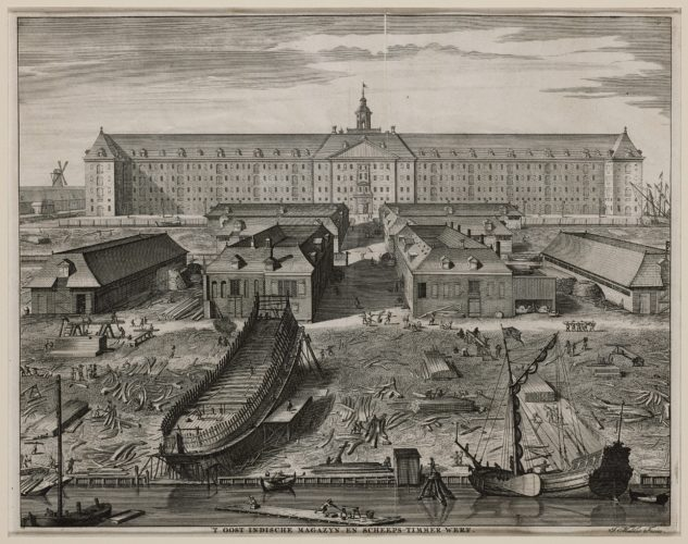 Amsterdam, shipyard of the VOC by Commelin, 1726