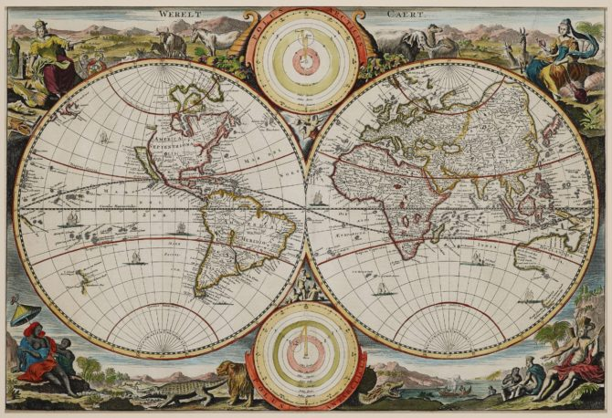 old map of the World by Daniël Stoopendaal, 1710