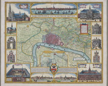Old map of Marquisate of Antwerp by Visscher, 1683