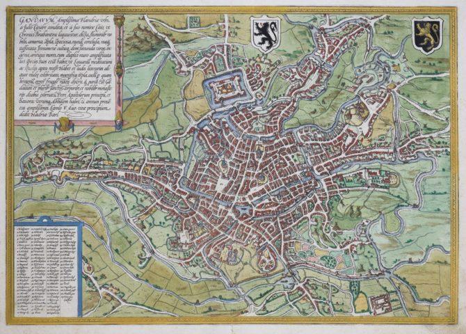 Old map Gent by Braun Hogenberg, 1577