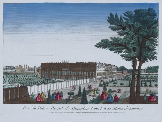 Optica print of the Royal Palace of Hampton Court by Chereau