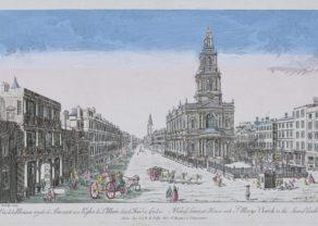 Optica print Saint Mary Church London bt de Poilly, ca. 1760